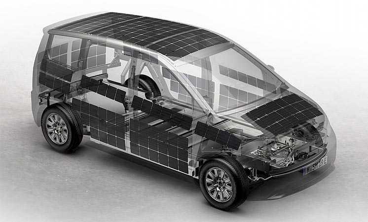 Розташування сонячних панелей на моделі Sion